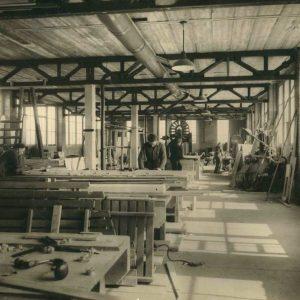 Sleephelling Maatschappij Scheveningen, timmerwerkplaats, Zeesluisweg, jaren 50
