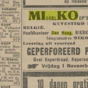 Miko, metaalhandel (1907 - heden)