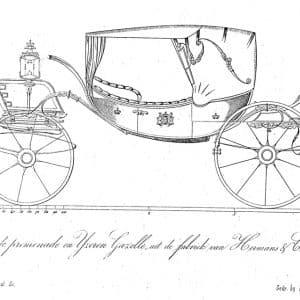 Litho tekening prijswinnend rijtuig van Hermans, 1855