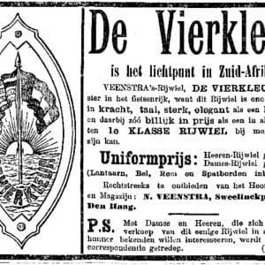 De Vierkleur, Rijwielfabriek, reclame, ca. 1905