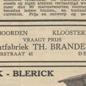 Passementfabriek Brandenburg, advertentie 1935