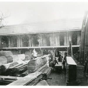 Noordwal 70, stoomhoutzagerij Wed. W.J. Oppedijk, ca. 1899