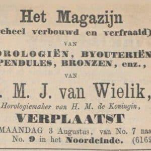 Wielik BV, van, onderscheidingen (1841 - 2018)