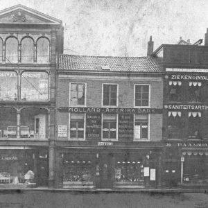 Simonis, bedden, Groenmarkt, ca. 1905