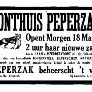 Peperzak, Laan van Meerdervoort 291, advertentie, 1947