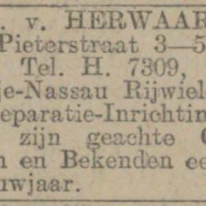 Herwaarden, A.H. van, rijwielen (ca. 1910 - ca.1955)