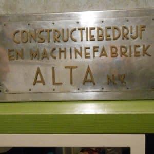 Naamplaat, ALTA, Fabriek van stalen ramen