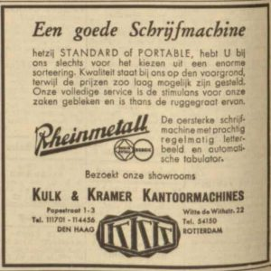 Advertentie, Kulk & Kramer, kantoormachines