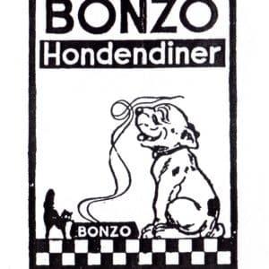 Reclamelogo voor Bonzo hondenbrood, jaren 30