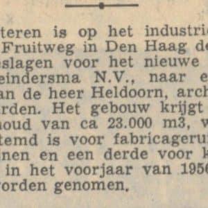 Meindersma, eerste paal Fruitweg, 1955