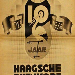Reclamekrant 10 jaar Bijenkorf, 1936