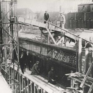 Bijenkorf constructie in aanbouw, 1925