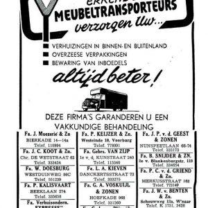 Van Boheemen, Da Costastraat, advertentie, 1949