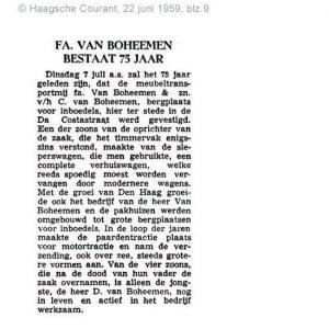 Van Boheemen, verhuizer, jubileum 75 jaar, 1959