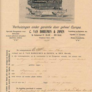 Van Boheemen, verhuizer, Da Costastraat, 1906