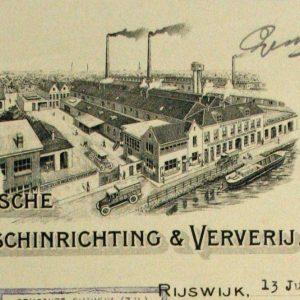 Het briefhoofd uit 1932 toont de fabriek met rokende schoorstenen.