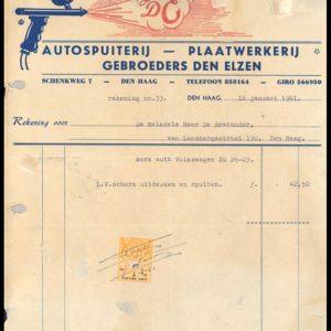 Briefhoofd Gebr. Den Elzen, Schenkweg 7, 1961