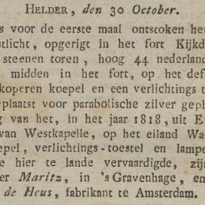 Geschutgieter Maritz, Nieuwe Uitleg, 1822