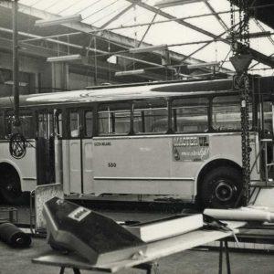 HTM bus, werkplaats, Viaductweg, 1967