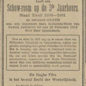 Haghefilm, Jaarbeurs, Joan Maetsuyckerstraat, 1919