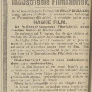 Haghefilm, advertentie, Willy Mullens, 1918