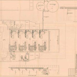 Hoek zuurstoffabriek, plattegrond inrichting, 1956