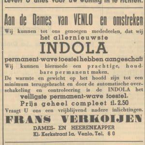 Indola, nieuw permanenttoestel, 1939