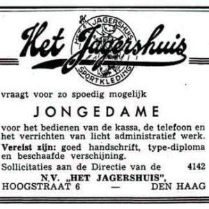 Advertentie Jagershuis, 1962