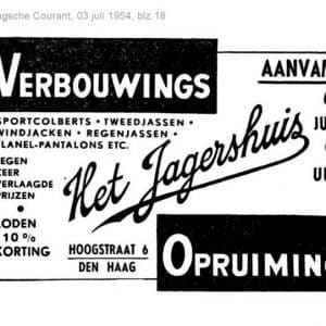 Advertentie Jagershuis, 1954