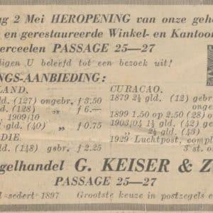 Keiser, postzegelhandel., Passage, 1936