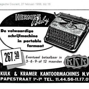 Kulk & Kramer, krantenadvertentie, 1956
