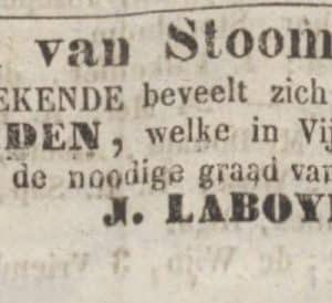 Laboyrie, advertentie, 1847