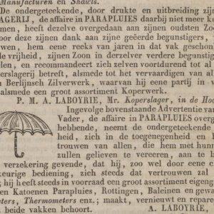 Laboyrie, koperslager, parapluhandel, 1843