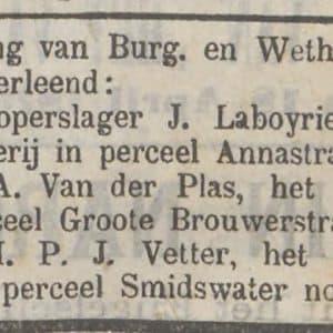 Laboyrie, koperslager, Annastraat, 1874
