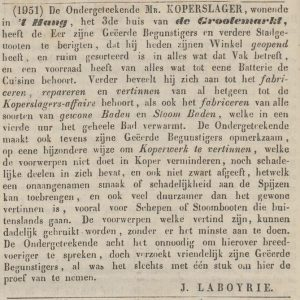 Laboyrie, koperslager, advertentie 1845