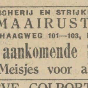 Maairust, advertentie, 1928