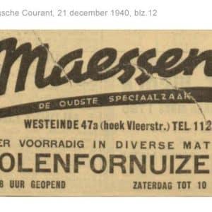 Maessen, Vleerstraat, fornuizen,1940