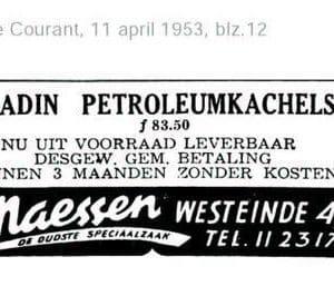 Maessen, advertentie petroleumkachels, 1953