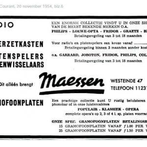 Maessen, advertentie audioapparatuur, 1954