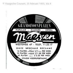 Maessen, platenzaak, 1955