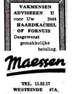 Maessen, advertentie kachels en fornuizen,1949