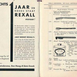 Meindersma, BEMA, prijscourant, 1934, Rexall