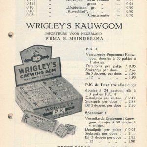 Meindersma, BEMA, prijscourant, 1934, Wrigley's kauwgom