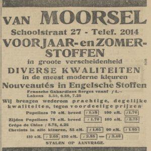 Van Moorsel, stoffen, advertentie, 1920
