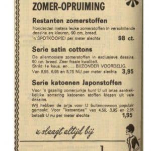 Van Moorsel, zomeropruiming stoffen, 1966