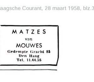 Mouwes, reclame Matzes, 1958