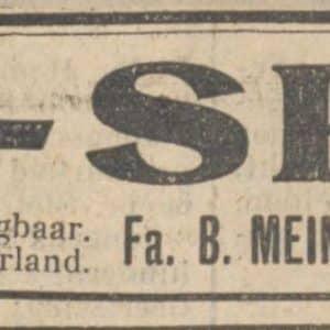 Advertentie, Meindersma, Westerbaenstraat, 1929