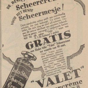 Advertentie Meindersma voor scheermesjes en -schuim, 1930
