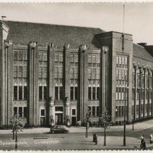 Het kantoorgebouw van de Post Cheque enb Girodienst aan het Spaarneplein, 1954