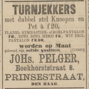 Pelger, advertentie, 1887